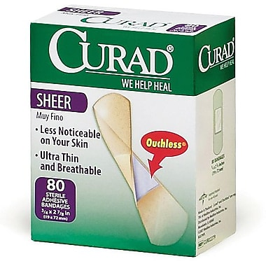 Curad® Adhesive Bandages, Sheer, 2 7/8in. L x 3/4in. W, 80 Bandages/Box, 24 Boxes/Case