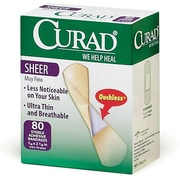 "Curad® Adhesive Bandages, Sheer, 2 7/8"" L x 3/4"" W, 80 Bandages/Box, 24 Boxes/Case"