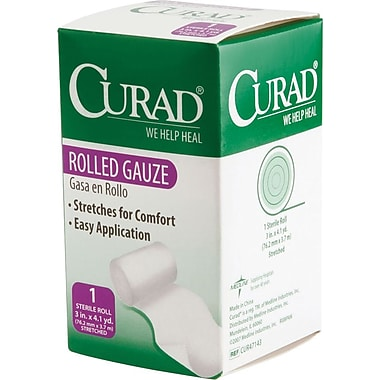 Curad® Sterile Rolled Gauze Bandages, 4 1/9 yds L x 3in. W, 24/Pack