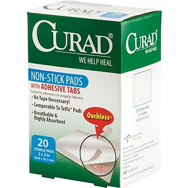 Curad® Non-stick Adhesive Pads, 3in. L x 2in. W, 12/Pack, 20/Box