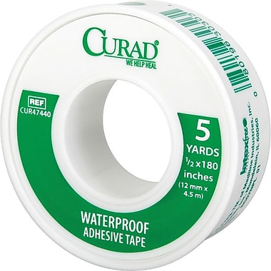 Curad® Waterproof Adhesive Tapes, 5 yds L x 1/2in. W, 24/Case