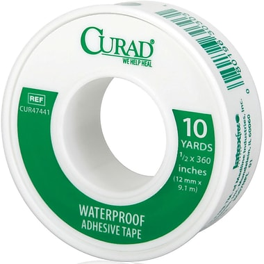Curad® Waterproof Adhesive Tapes, 10 yds L x 1/2in. W, 24/Case