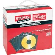 Staples® - Boîtiers minces translucides, fond noir, paq./100