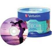 Verbatim, 50 Pack CD-R 80MIN 700MB 52X Silver Inkjet Printable, Spindle