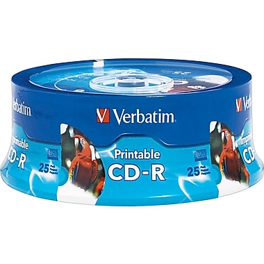 Verbatim 96189 700 MB 52x 80 Minute White Inkjet Printable, Hub Printable Recordable Disc CD-R, 25/Pack Spindle