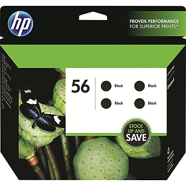 HP 56/56/56/56 Black Ink Cartridges (CD945FN), 4/Pack