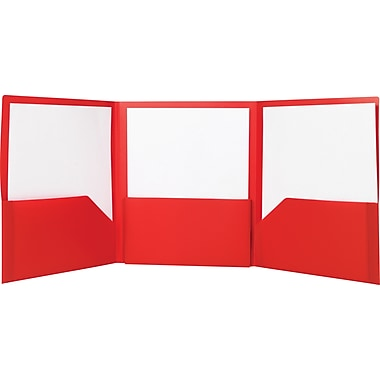 Staples Tri-Fold Pocket Folder, Red