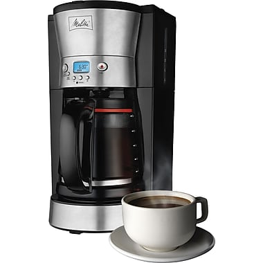 Melitta 12-Cup Coffee Maker, Black/Stainless Steel