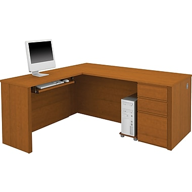Bestar Prestige+ L-Workstation, Single Pedestal, Cognac Cherry