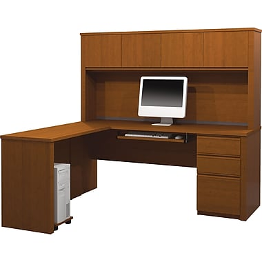 Bestar Prestige+ L-Workstation w/ Hutch and 1 Pedestal