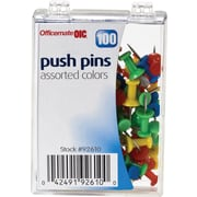 "OIC® Push Pins, 1/4"" Plastic Heads, Assorted Colors"