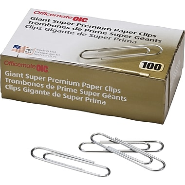 OIC® Jumbo Super Premium Paper Clips, Smooth, 1,000/Pack