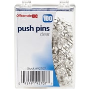 OIC® Push Pins, 1/4 Plastic Heads, Clear