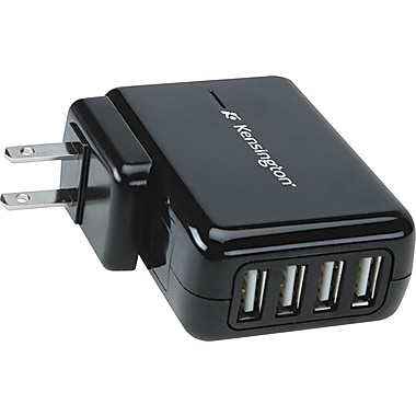 Kensington® 4-port USB Charger for Mobile Devices, 3in. L x 2 1/6in. W x 1 1/7in. D