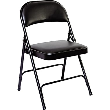 Alera® Folding Chair with Padded Back/Seat, Graphite