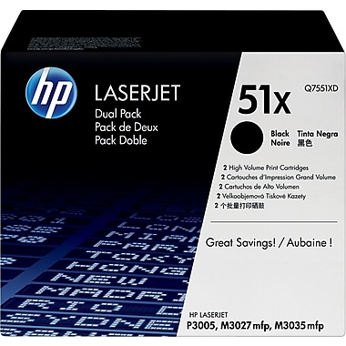 HP 51X (Q7551XD) Black High Yield Original LaserJet Toner Cartridges, 2/Pack