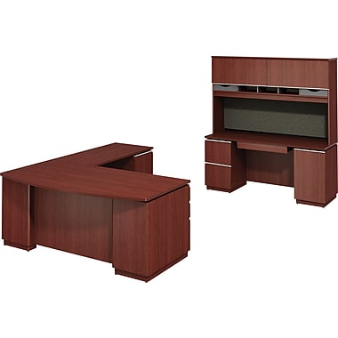 Bush Milano2 RH L-Station with Credenza and Hutch, Harvest Cherry