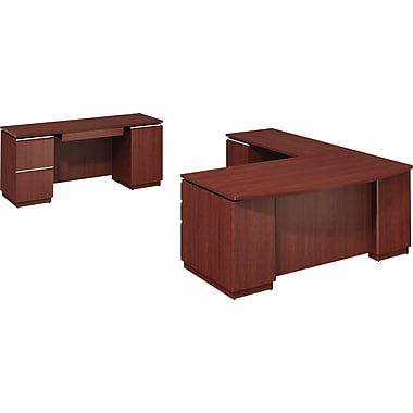 Bush Milano2 LH L-Station with Credenza, Harvest Cherry