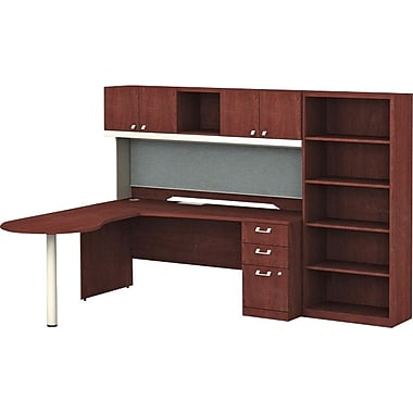 Bush Quantum 103in.W x 72in.D LH Peninsula L-Station with Hutch, 3-Drawer File and Bookcase, Harvest Cherry
