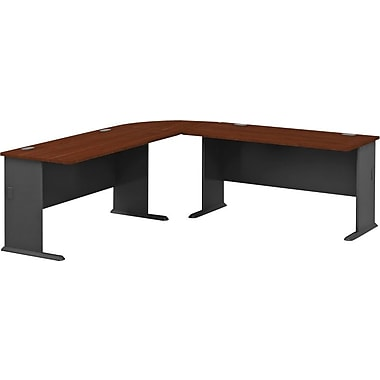 Bush Business Cubix 60W Left Hand Bow Front Desk, 36W Desk with 48W Corner Desk, Hansen Cherry/Galaxy