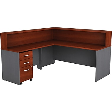 Bush Business Westfield Reception L-Desk with Hutch and 3Dwr Lateral File, Hansen Cherry/Graphite Gray