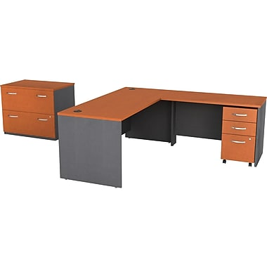 Bush Westfield Complete L-Desk - Auburn Maple/Graphite Gray