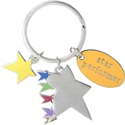 "Baudville® ""Key to Success"" Colorful Silver Star Charm Key Chains"