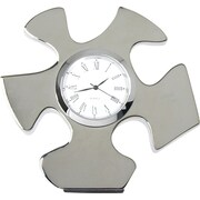 "Baudville® ""Essential Piece"" Silver Puzzle Piece Desktop Clock"