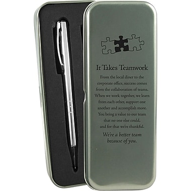 Baudville® in.It Takes Teamworkin. Silver Pen and Pencil Gift Set