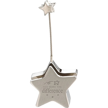 Baudville® in.You Make the Differencein. Silver Star Business Card and Memo Note Holder