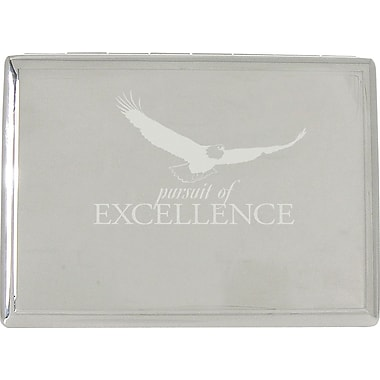 Baudville® in.Pursuit of Excellencein. Silver Desktop Perpetual Calendar with Organizer