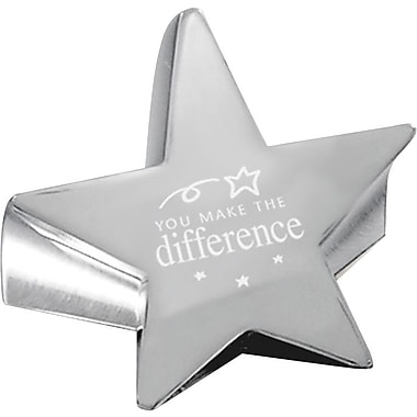 Baudville Star Paperweight with Engraved Message, in.You Make the Differencein., Silver