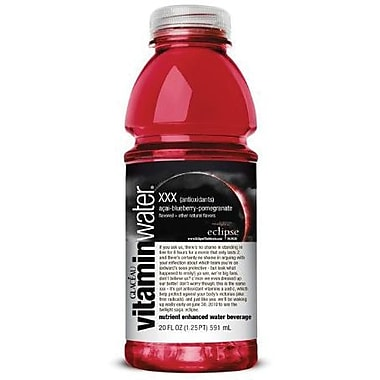 Glaceau Vitaminwater, XXX, Acai-Blueberry-Pomegranate, 20 oz., 24 Bottles/Case