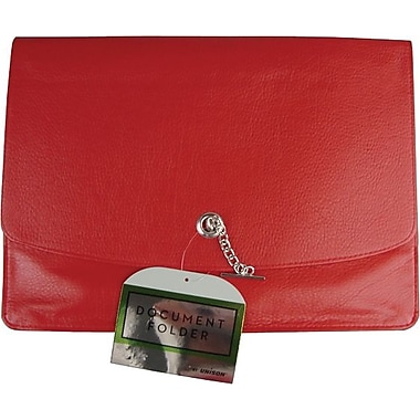 Faux Leather Document Wallet, Red