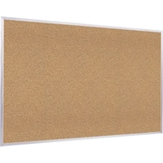 Ghent Traditional Natural Cork Bulletin Board, Aluminum Frame, 4'W x 3'H