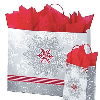 Shamrock Printed Paper Shopping Bags, Christmas Lace, 16