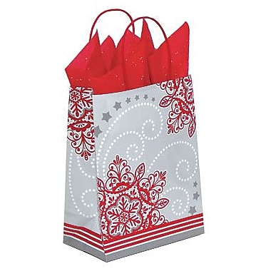 Shamrock Printed Paper Shopping Bags, Christmas Lace, 8in. x 4-3/4in. x 10-1/2in.
