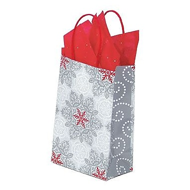 Shamrock Printed Paper Shopping Bags, Christmas Lace, 5-1/2in. x 3-1/4in. x 8-3/8in.
