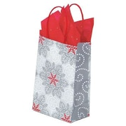 Shamrock Printed Paper Shopping Bags, Christmas Lace, 5-1/2 x 3-1/4 x 8-3/8
