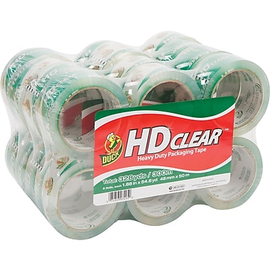 Duck® Crystal-Clear Packaging Tape, 1.88in. x 54.6 yds, 24 Rolls
