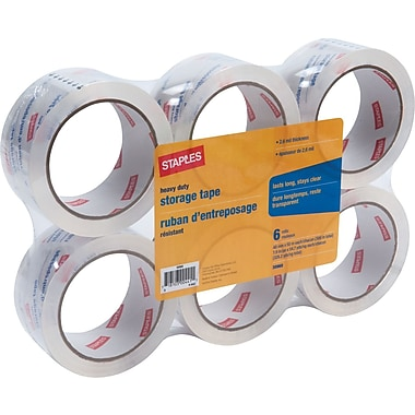 Staples Heavy-Duty Storage Tape, Clear, 1.89in. x 54.7 yds, 6 Rolls