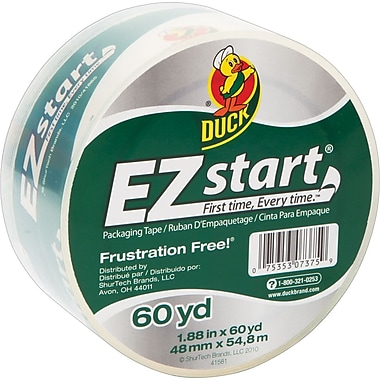 Duck® EZ-Start Crystal-Clear Packaging Tape, 1.88in. x 60 yds, Each
