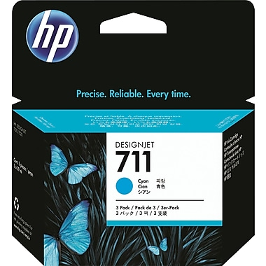 HP 711 Cyan Ink Cartridge (CZ134A), 29ml, 3/Pack