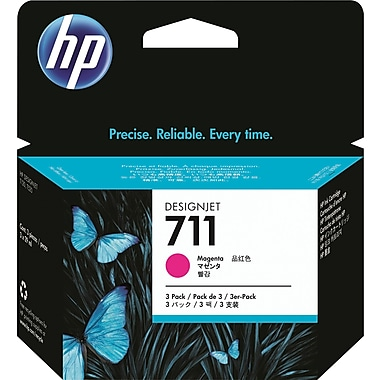 HP 711 Magenta Ink Cartridge (CZ135A), 29ml, 3/Pack