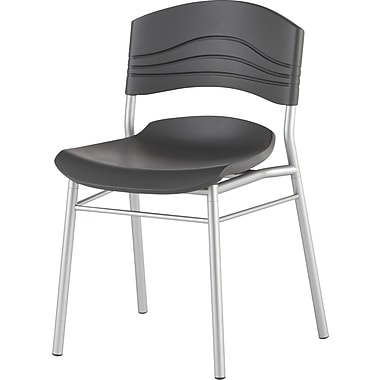 Iceberg® Cafe Works Cafe Chairs, Graphite, 2/pack