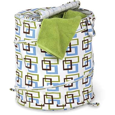Honey Can Do Large Patterned Pop Open Hamper, Green Print