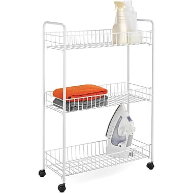 Honey Can Do 3-Tier Laundry Cart, White
