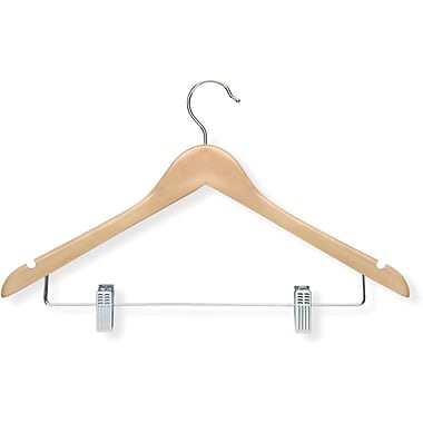 Honey Can Do 12 Pack Basic Suit Hanger With Clips, Maple