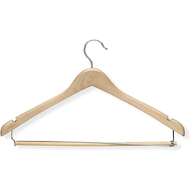 Honey Can Do Contoured Suit Hanger With Locking Bar - Maple