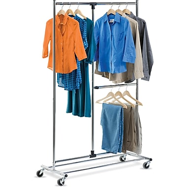 Honey Can Do 80in. Dual Bar Chrome Adjustable Garment Rack